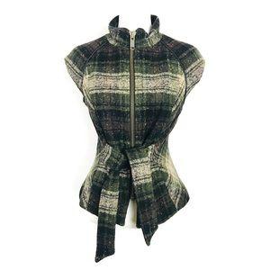 Cabi Plaid Wool Blend Vest with waist tie Green